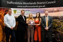 Councillor Mark Deaville with members of Leek Rugby Club u15s Girls