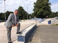 Cllr Deaville at the Brough Park skate park