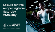 Leisure centres re-opening 25 July