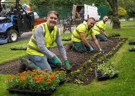 Councillor Joe Porter with AES colleagues Joe Lucking and Kai Thornton at Brough Park